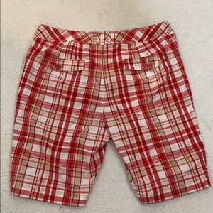 CATO Red & White Plaid Long Shorts  Sz 20